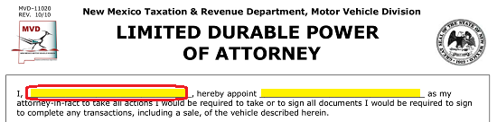 New Mexico Motor Vehicle Division Albuquerque Nm >> New Mexico Motor Vehicle Power Of Attorney Form Mvd 11020 Eforms