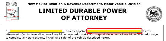 New Mexico Motor Vehicle Division Albuquerque Nm >> New Mexico Motor Vehicle Power Of Attorney Form Mvd 11020