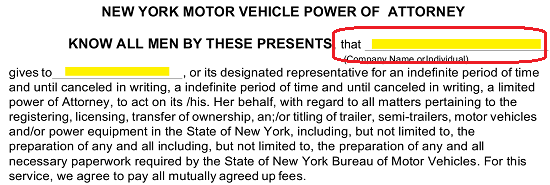 Free New York Motor Vehicle Power Of Attorney Form Pdf Word