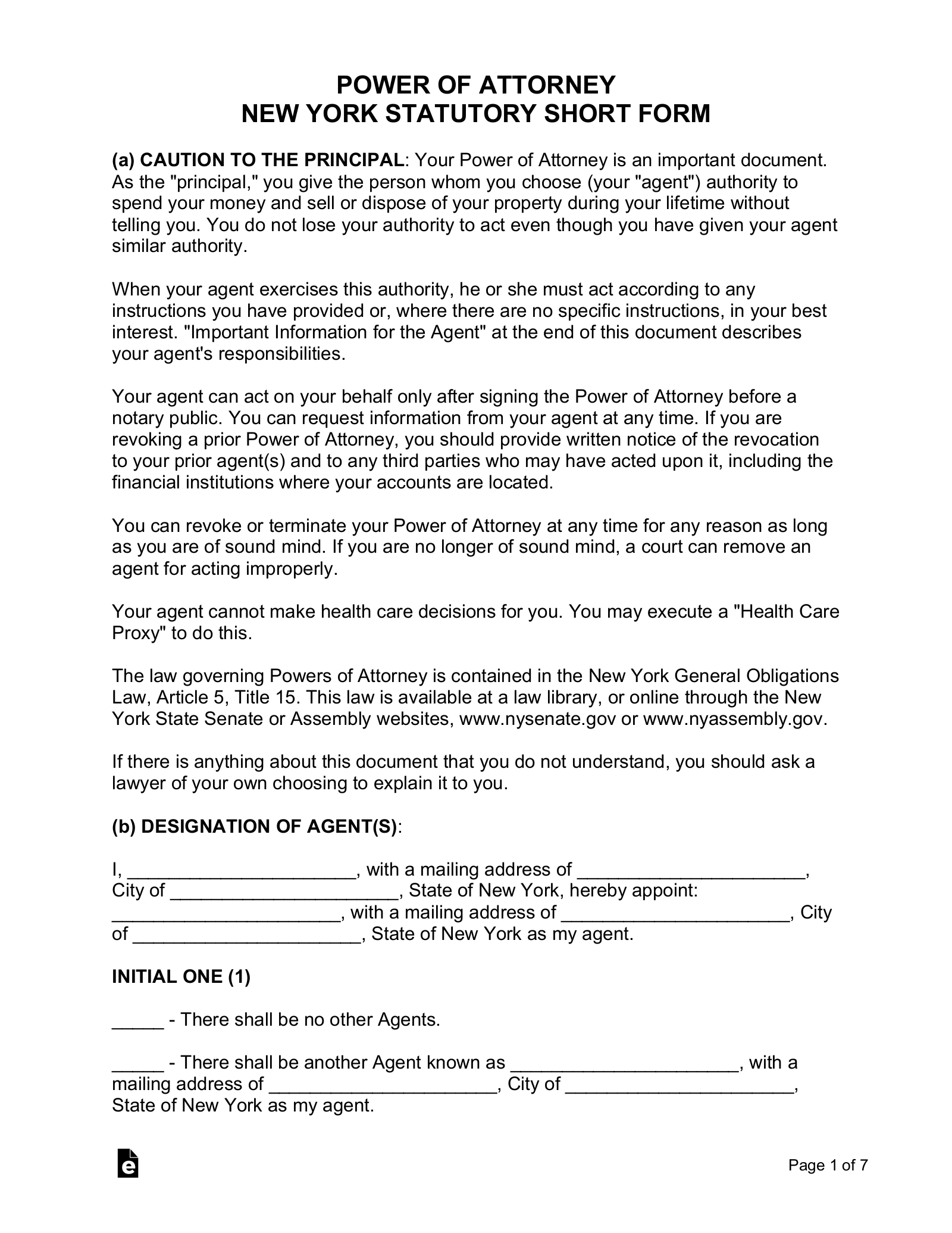 fillable power of attorney form ny  Free New York Power of Attorney Forms - PDF | Word | eForms ...