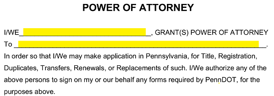 power of attorney form pa vehicle  Free Pennsylvania Motor Vehicle Power of Attorney Form ...