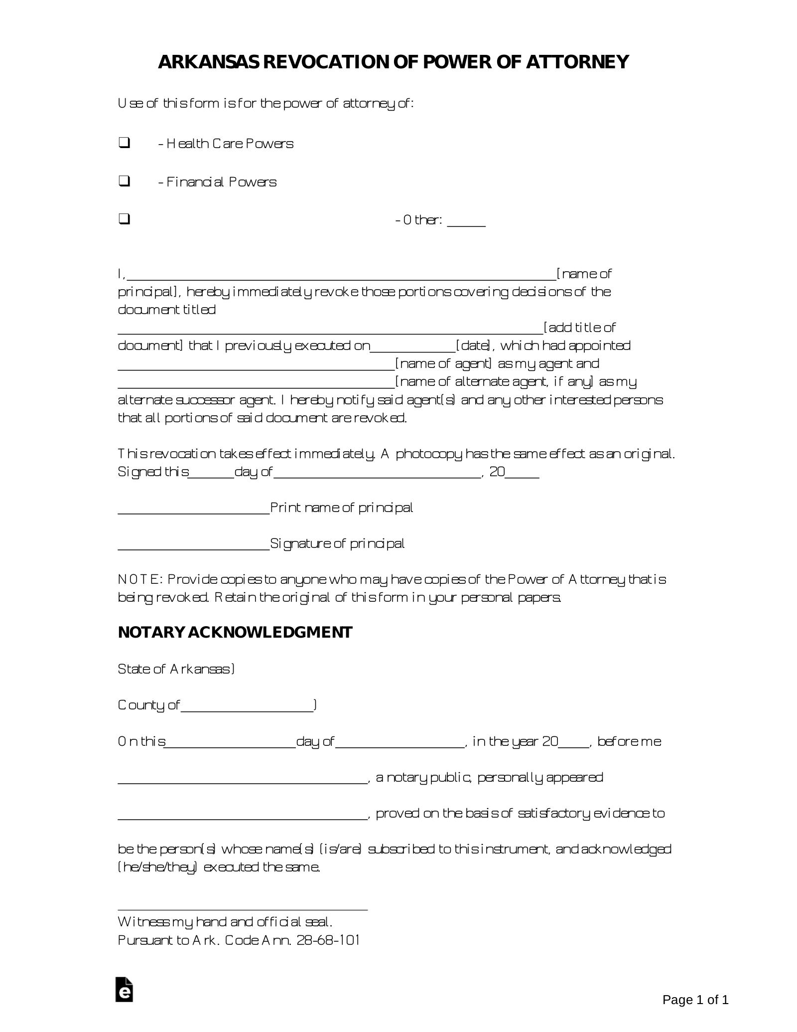 power of attorney resignation form  Free Arkansas Revocation of Power of Attorney Form - PDF ...