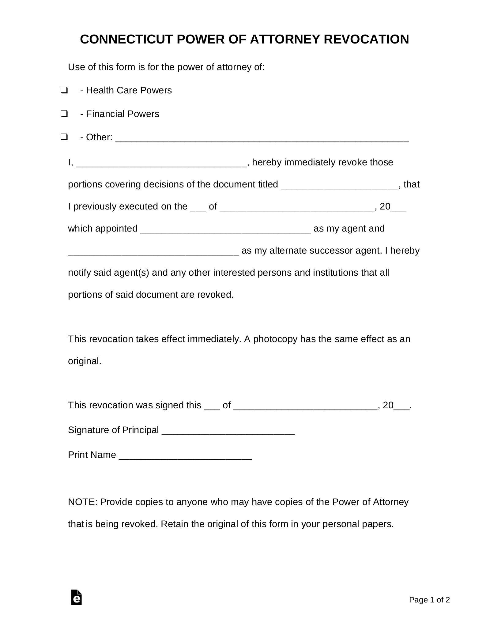 picture relating to Free Printable Power of Attorney Form Kentucky referred to as Free of charge Connecticut Revocation of Electrical power of Legal professional Style - PDF