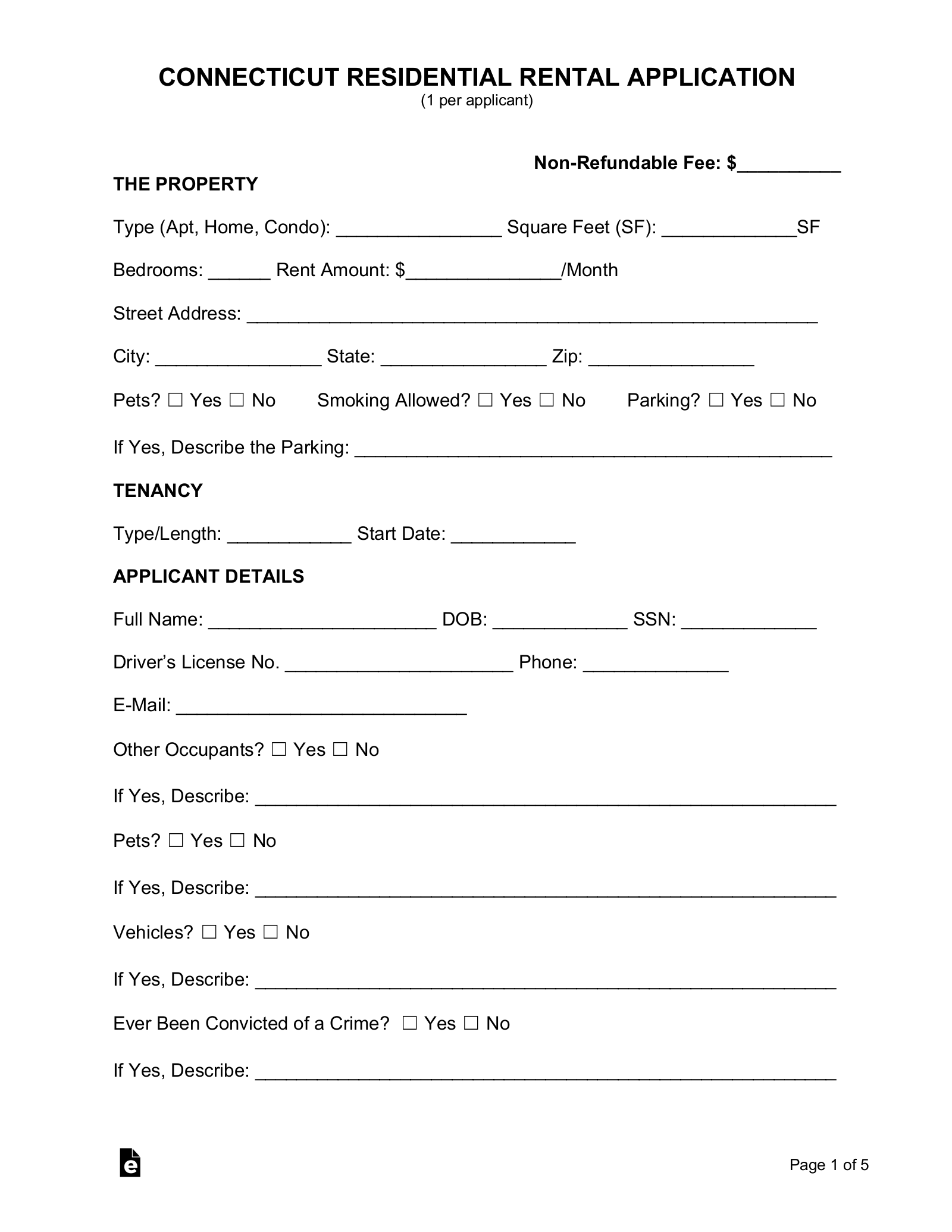 Free Connecticut Rental Application Template Pdf Eforms