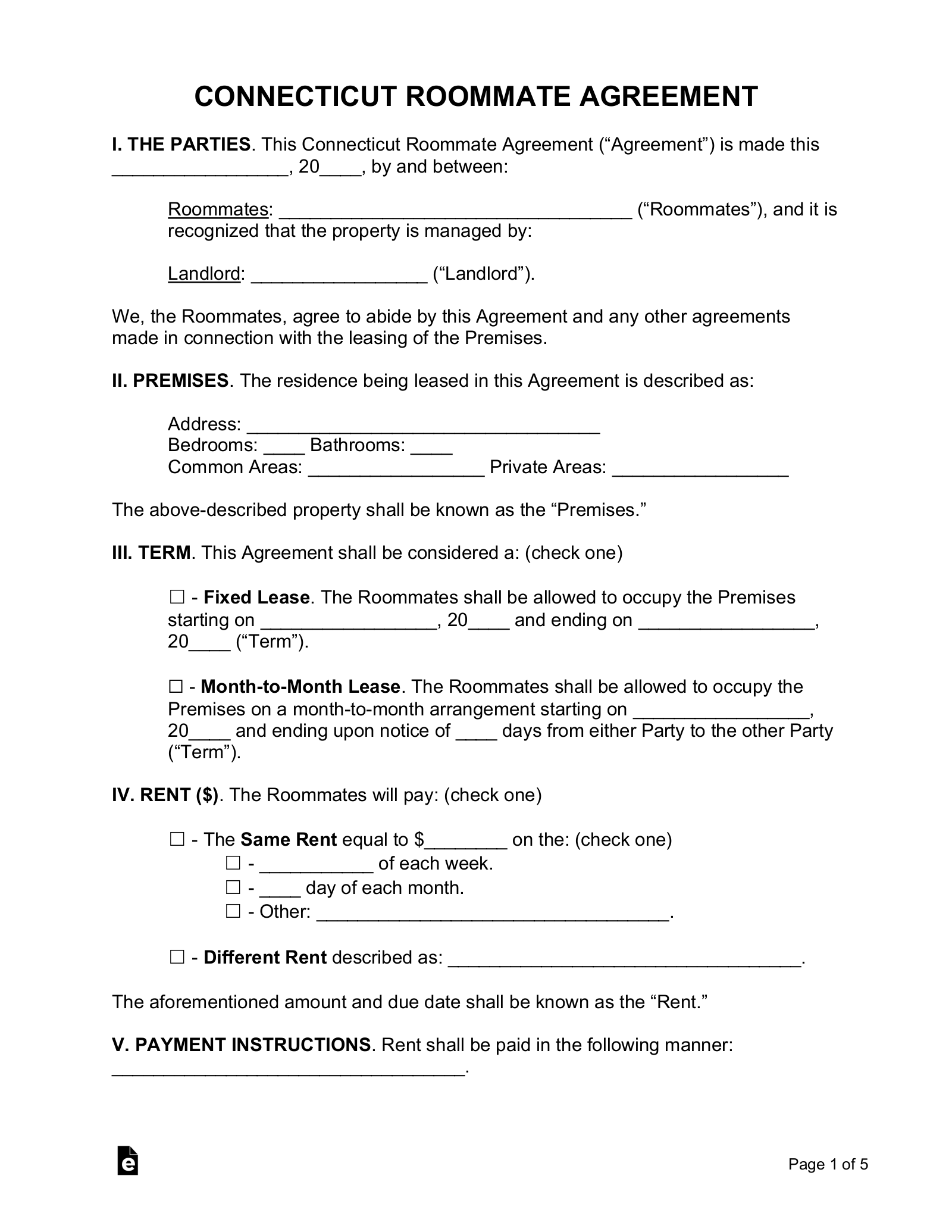 Free Connecticut Roommate Room Rental Agreement Form