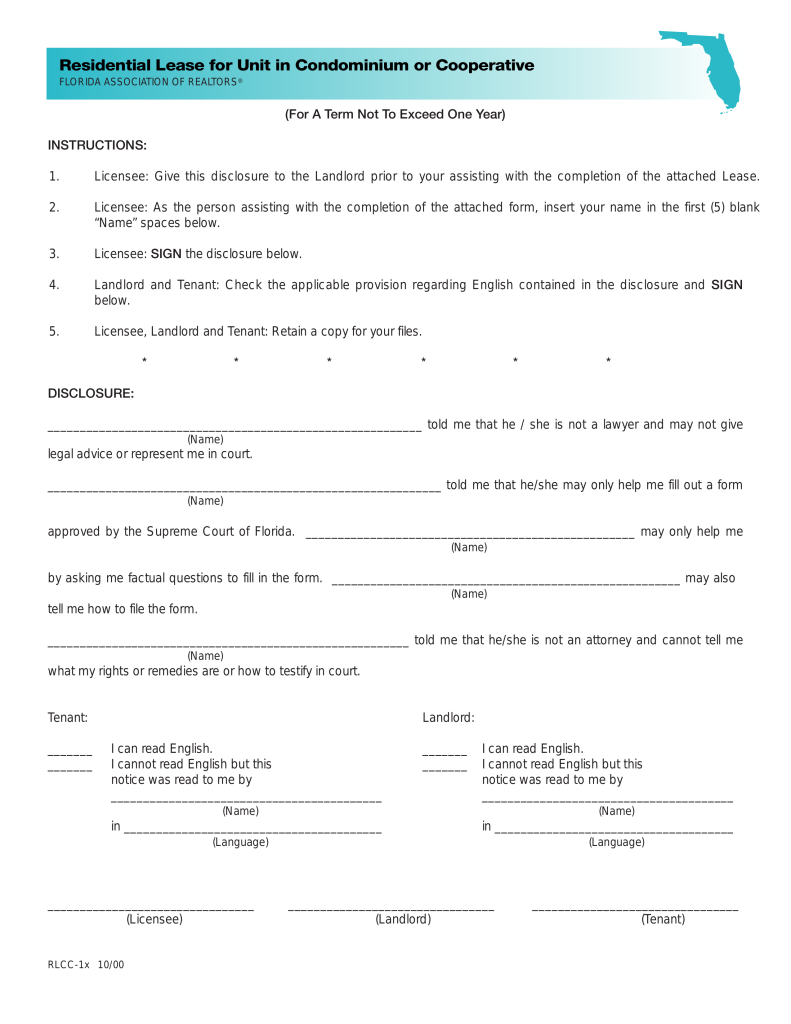 Free Florida Condominium Condo Lease Agreement Template
