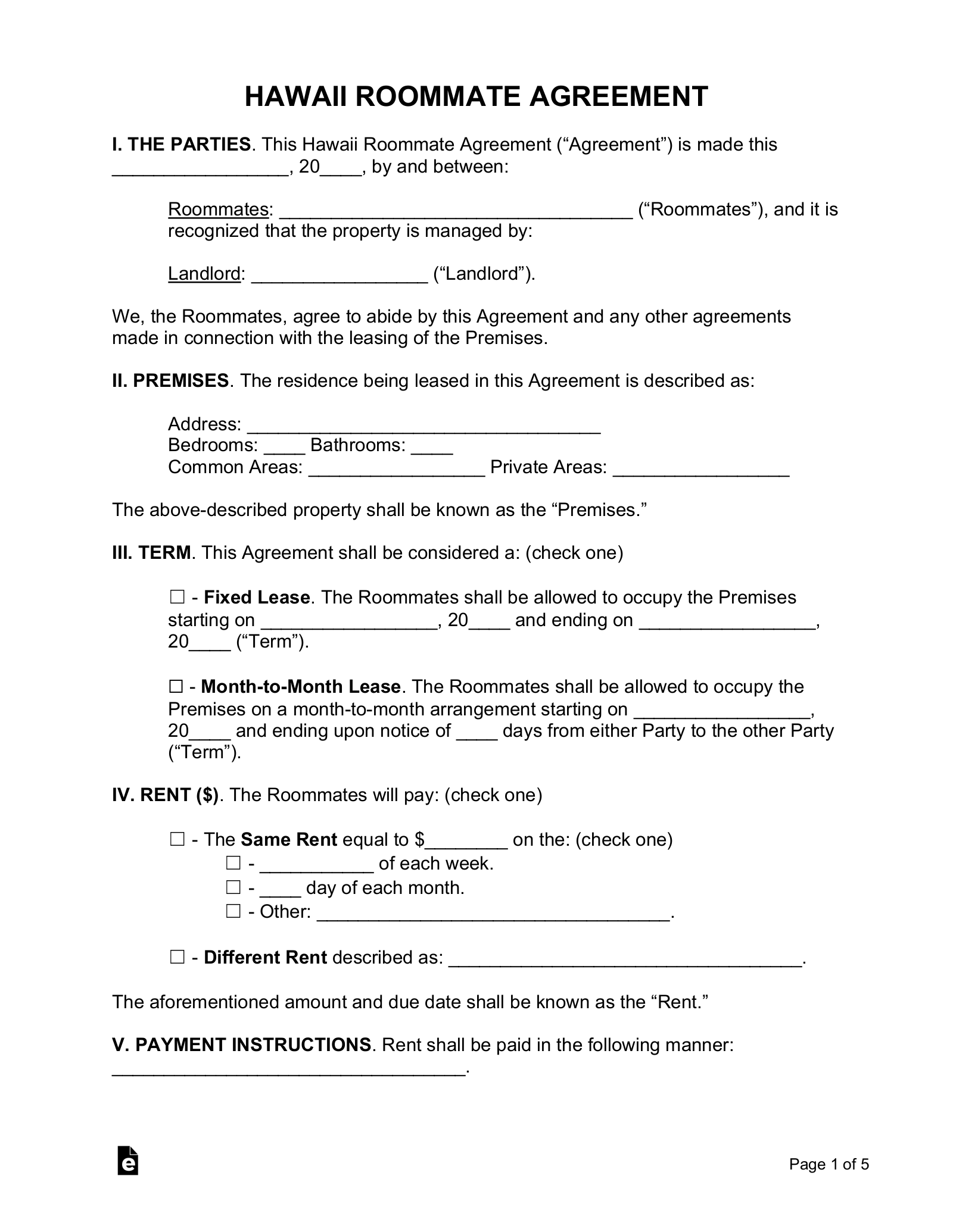 Free Hawaii Roommate Room Rental Agreement Form Pdf