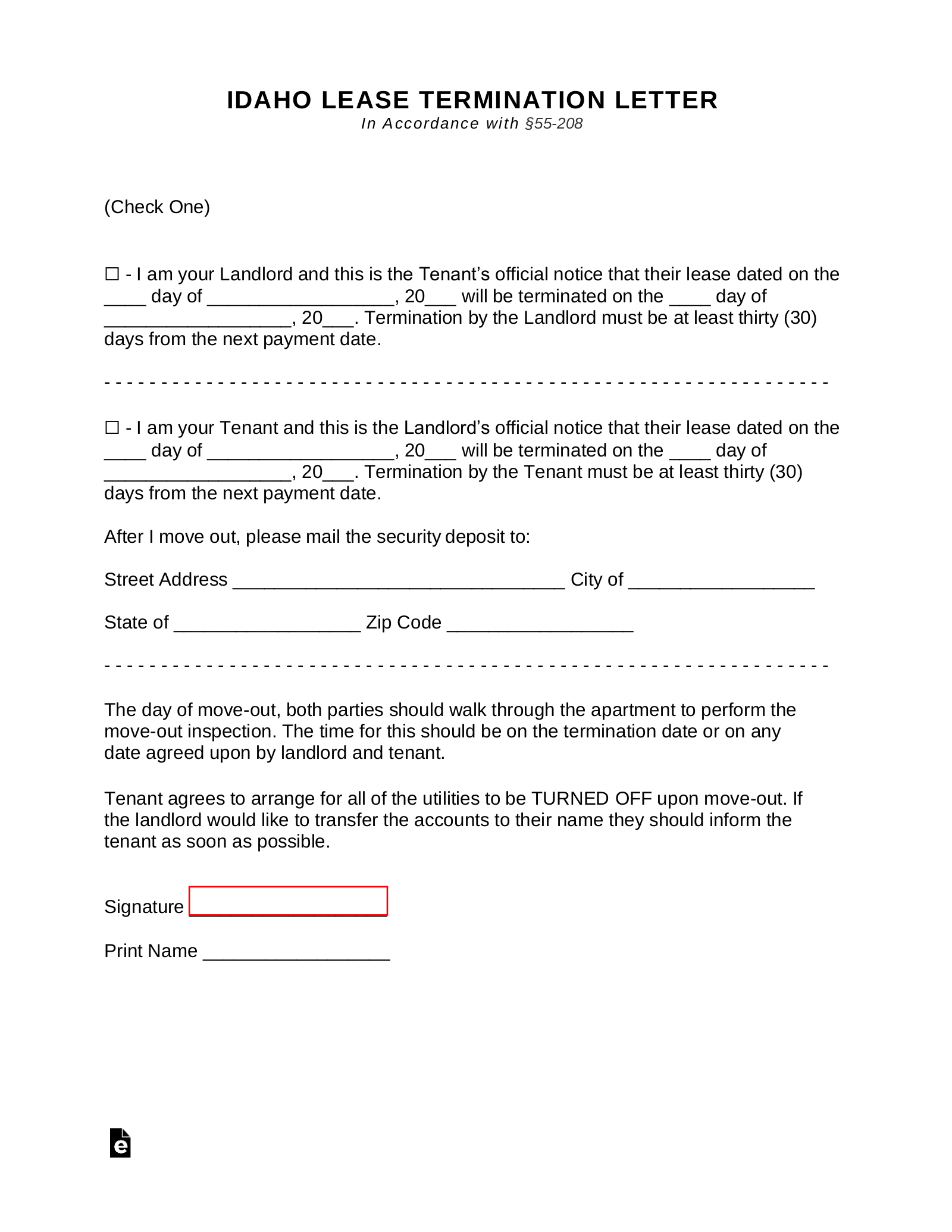 Free Idaho Termination Lease Termination Letter Form 30