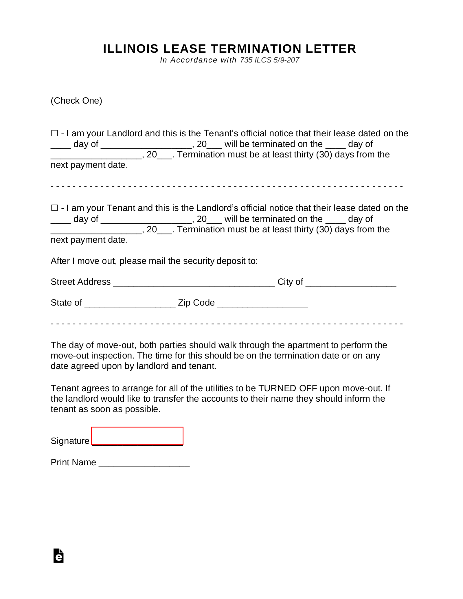 Illinois Lease Termination Letter Form | 30-Day Notice