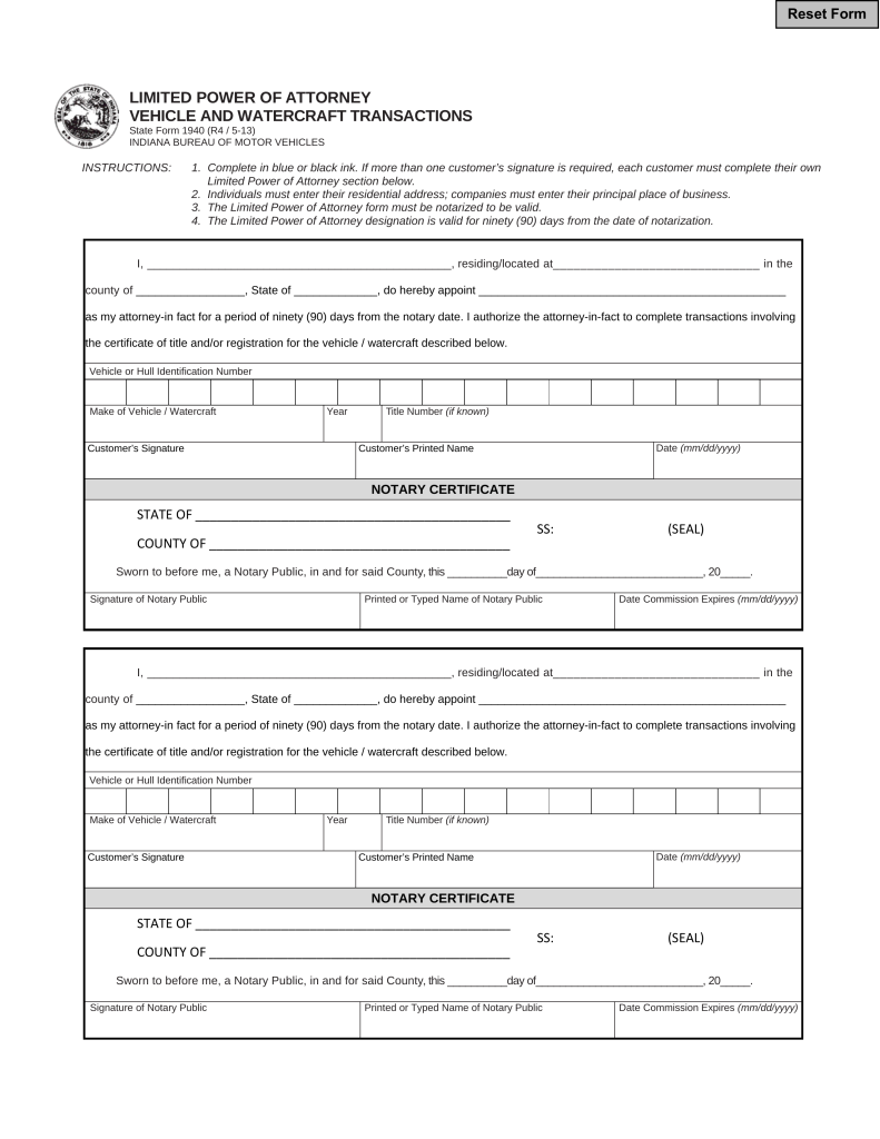 Free indiana motor vehicle power of attorney form 01940 for Power of attorney for motor vehicle only