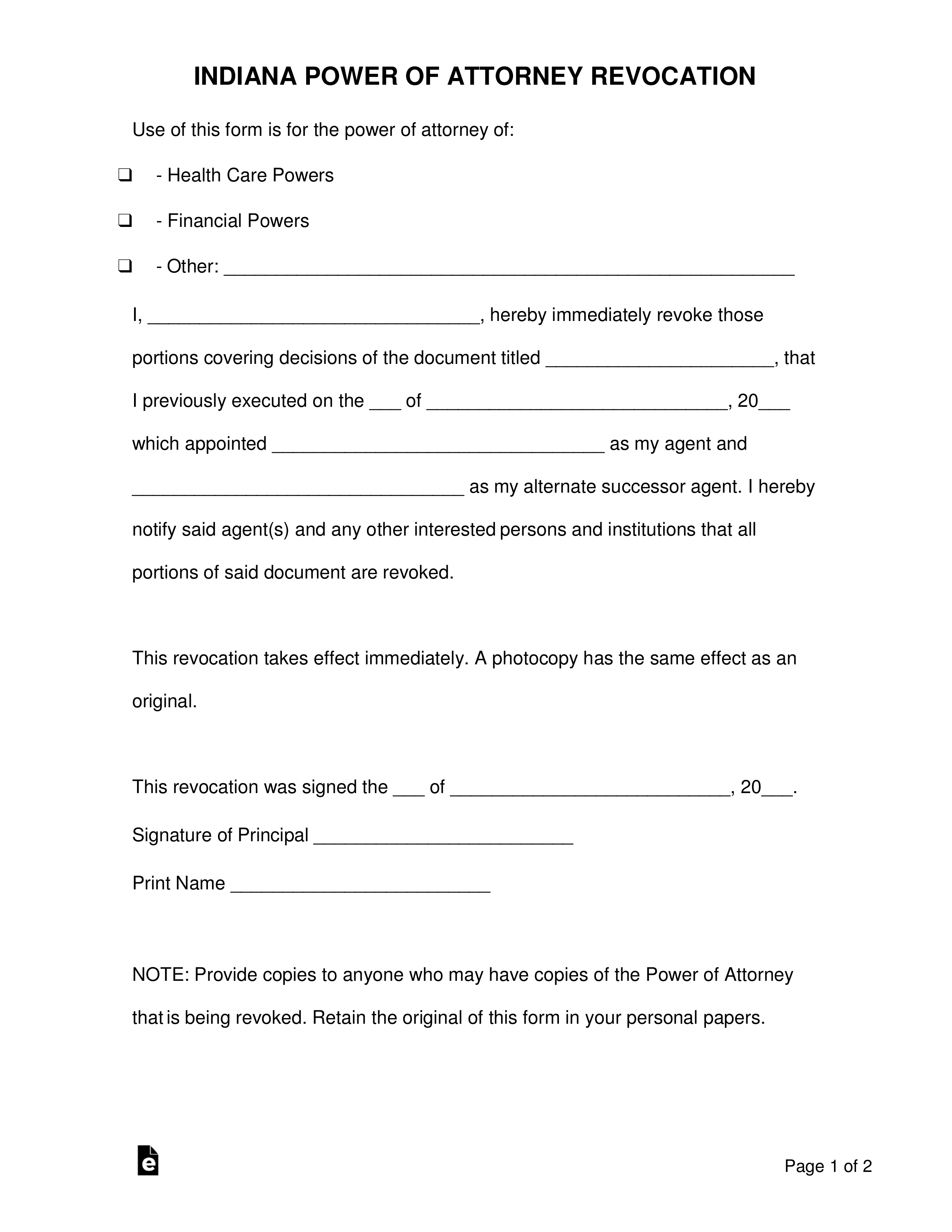 power of attorney form indiana  Free Indiana Power of Attorney Revocation Form - PDF | Word ...