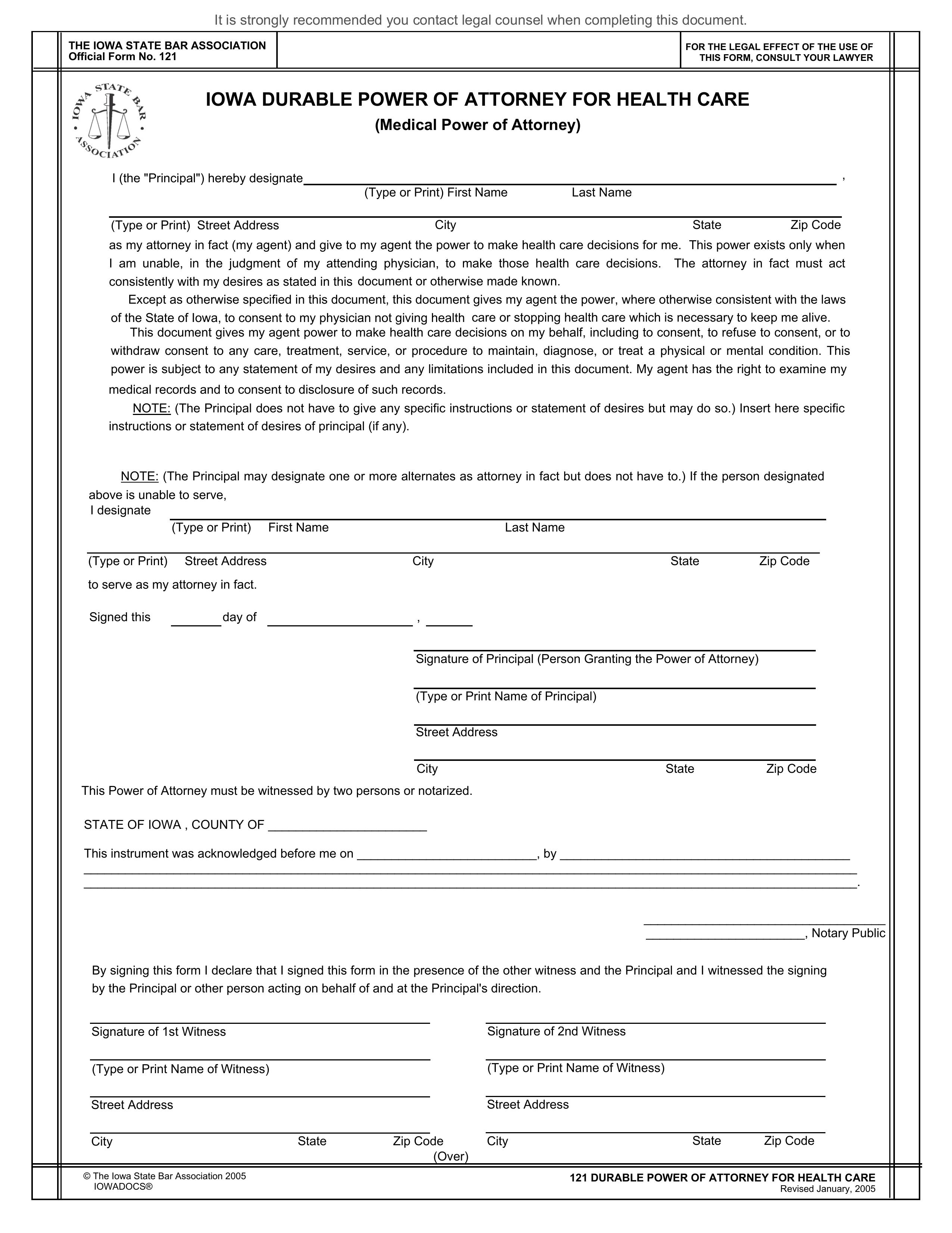 power of attorney form iowa  Free Iowa Durable Power of Attorney for Health Care Form ...