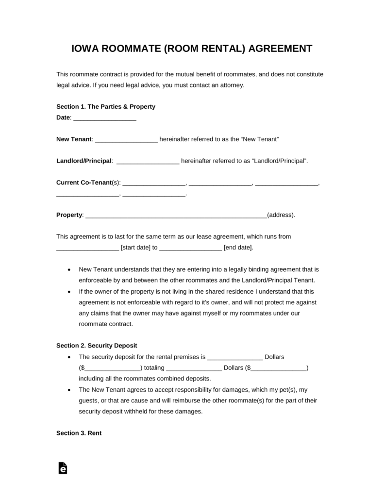 Free Kansas Room Rental Roommate Agreement Form PDF