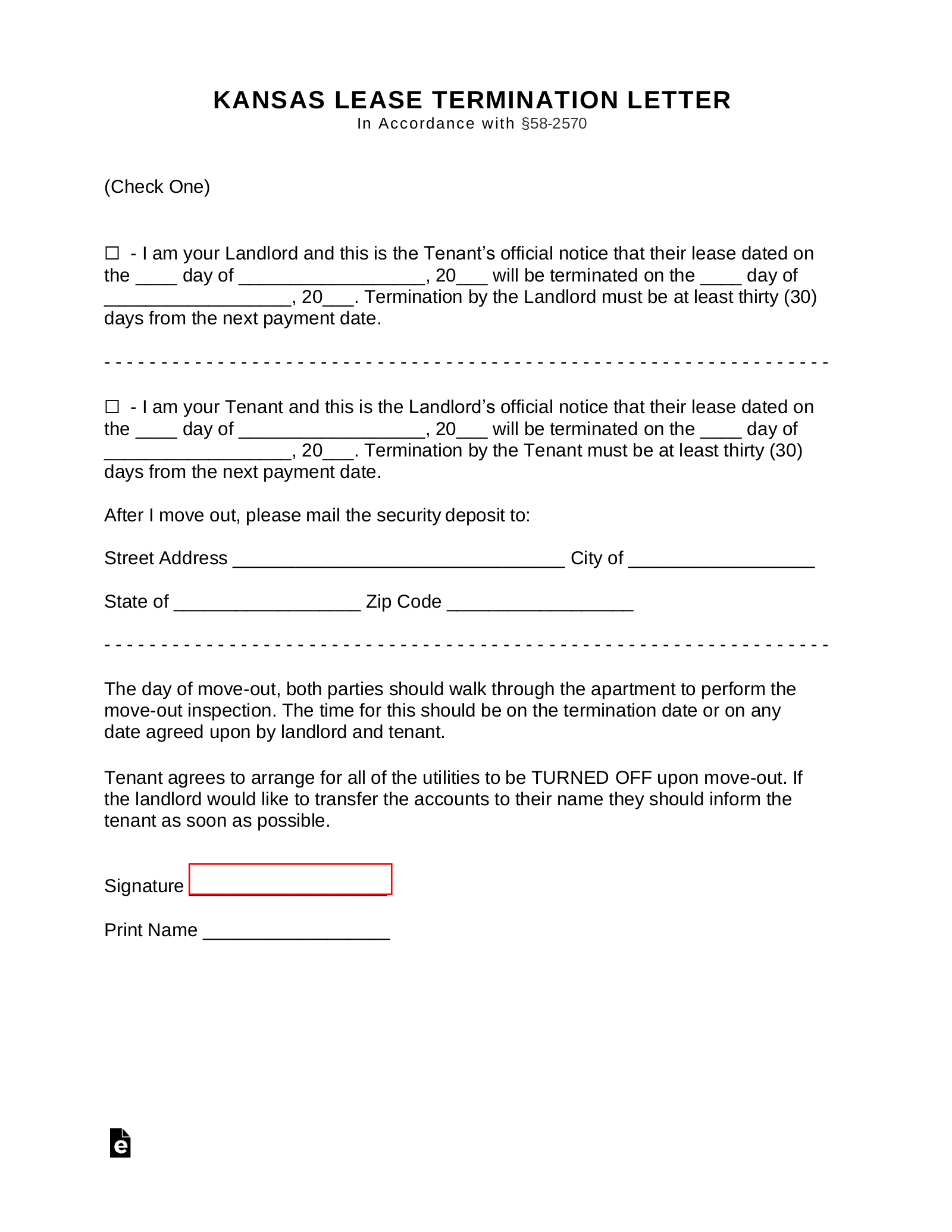 30 Notice Letter To Landlord from eforms.com