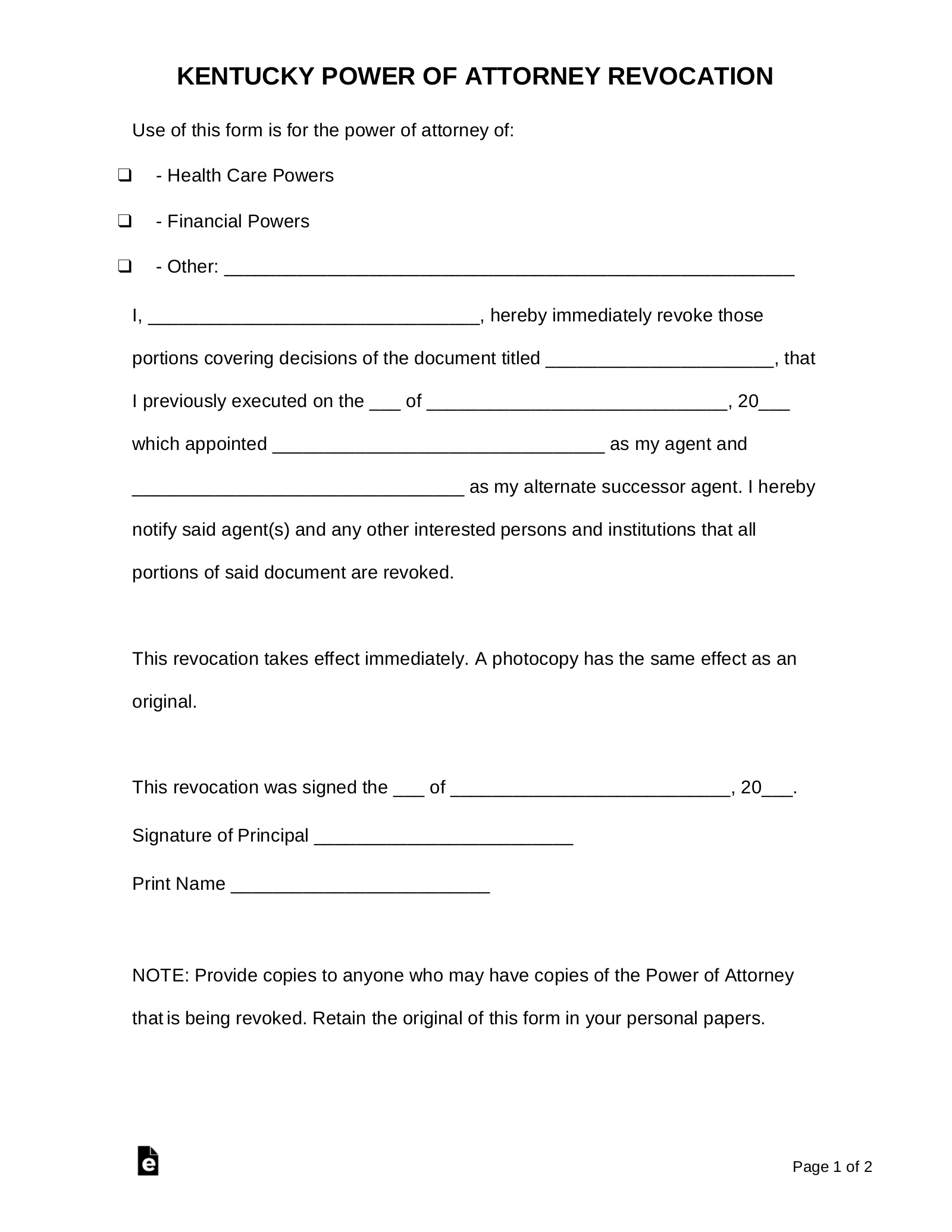 power of attorney form ky  Free Kentucky Power of Attorney Revocation Form - PDF | Word ...