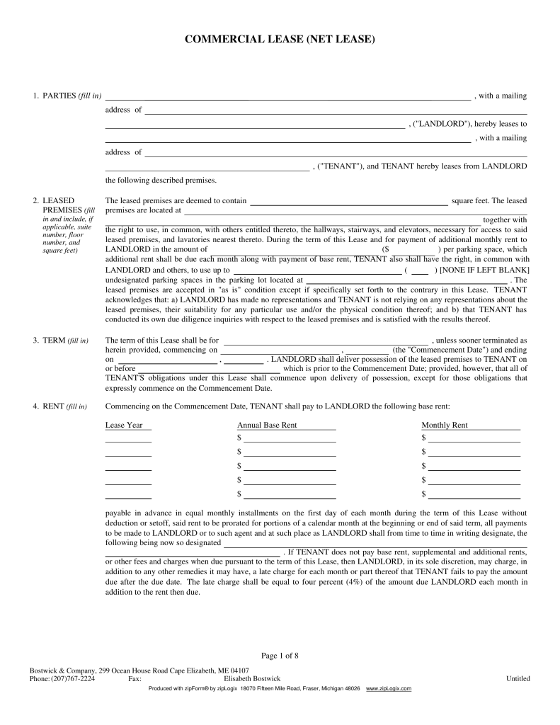 Free Maine Association of Realtors Commercial Lease Agreement – Net Lease Agreement Template