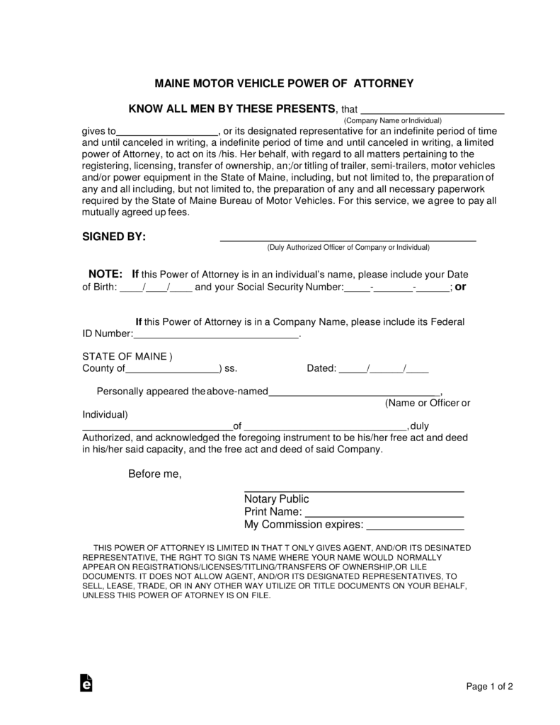 Free Maine Motor Vehicle Power of Attorney Form - Word | PDF ...