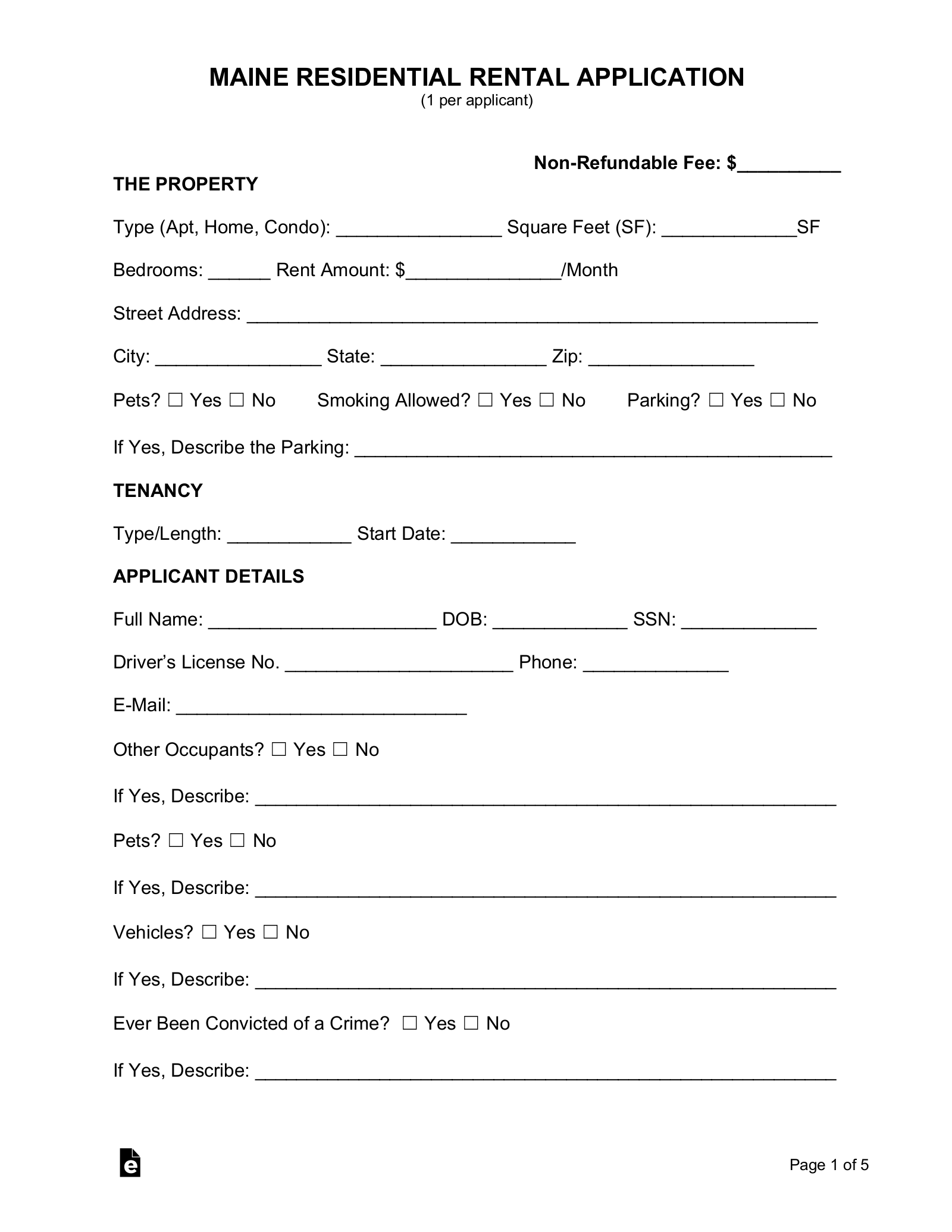 Free Maine Rental Application Form Pdf Eforms Free