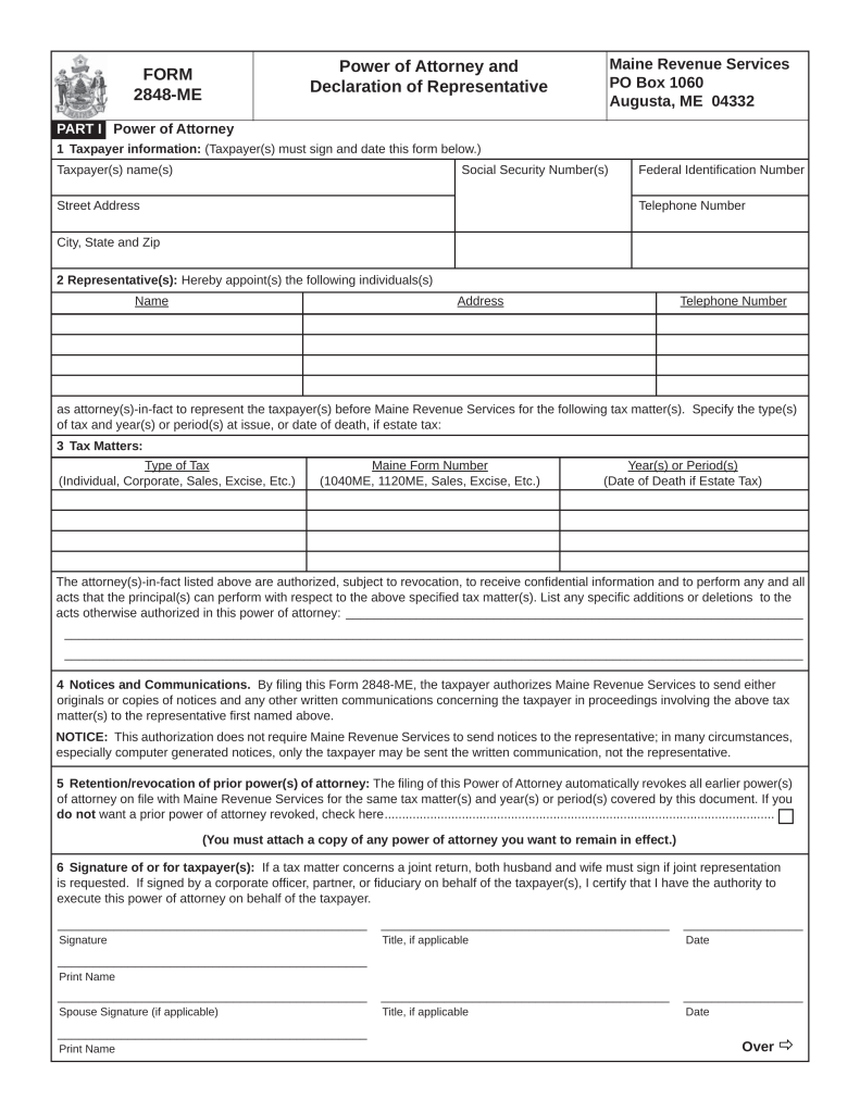 Maine Tax Power of Attorney Form ME-2848 | eForms – Free Fillable ...