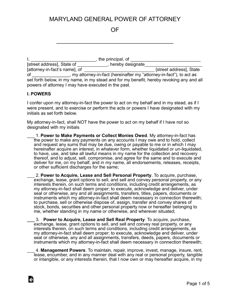 power of attorney form maryland Free Maryland General (Financial) Power of Attorney Form - Word ...