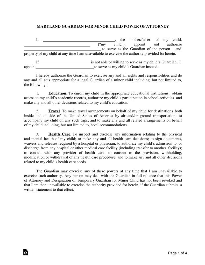 Free Maryland Guardian of Minor Child Power of Attorney Form ...