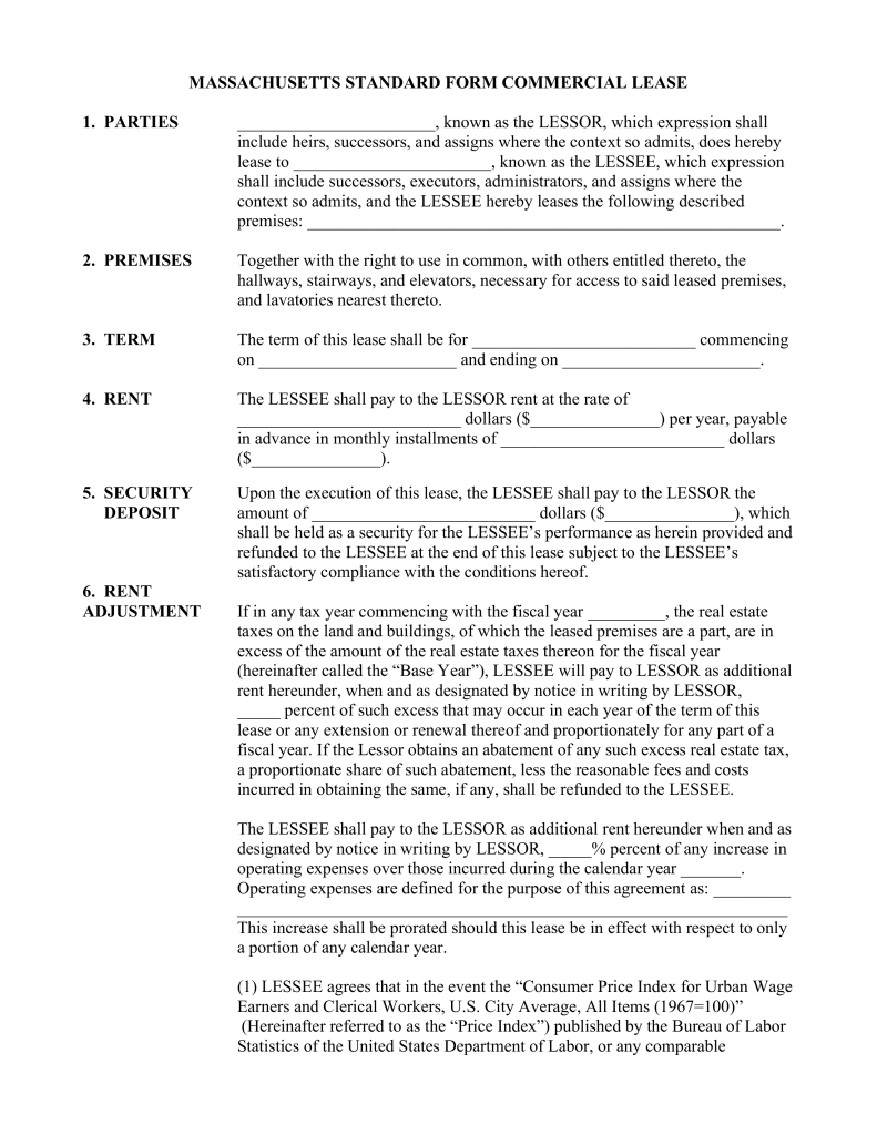 Free Massachusetts Mercial Lease Agreement Template