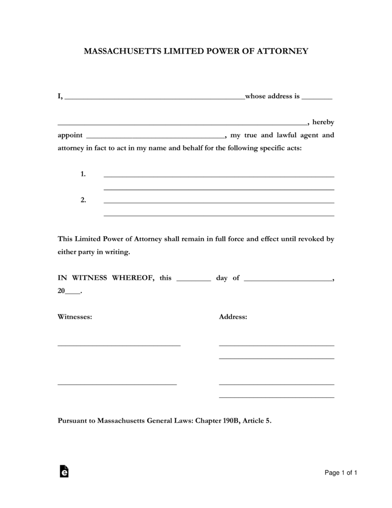 power of attorney form ma Free Massachusetts Limited Power of Attorney Form - Word | PDF ...