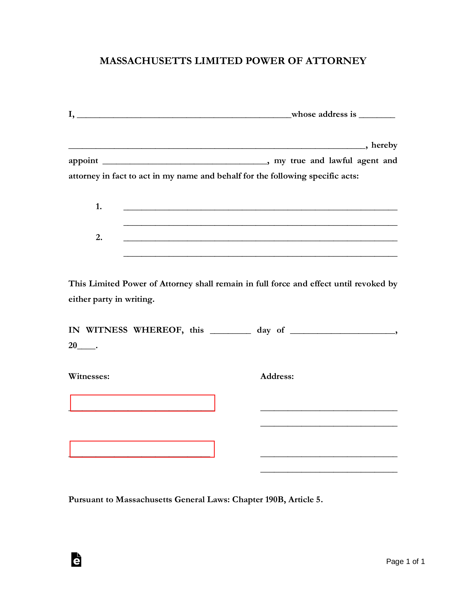 power of attorney form massachusetts  Free Massachusetts Limited Power of Attorney Form - PDF ...