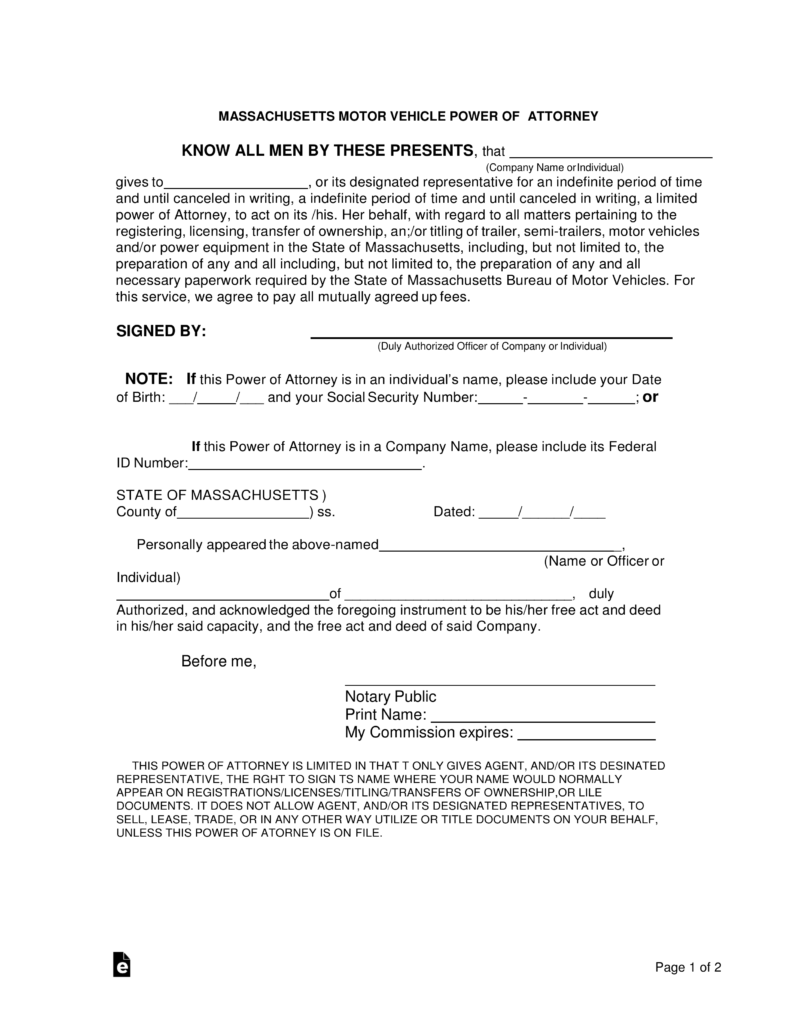 power of attorney form ma Free Massachusetts Motor Vehicle Power of Attorney Form - Word ...