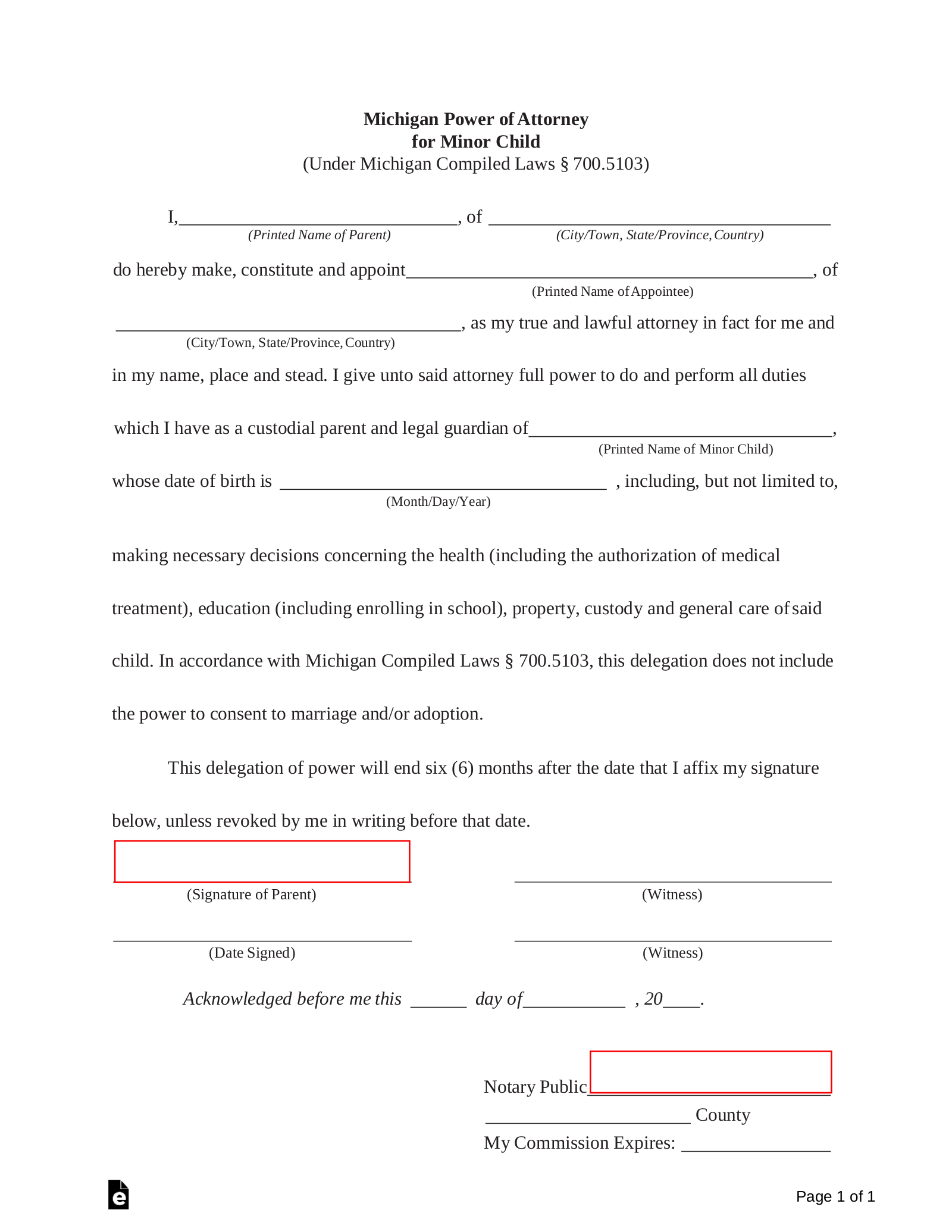 Free Michigan Power of Attorney for Minor Child Form - PDF ...