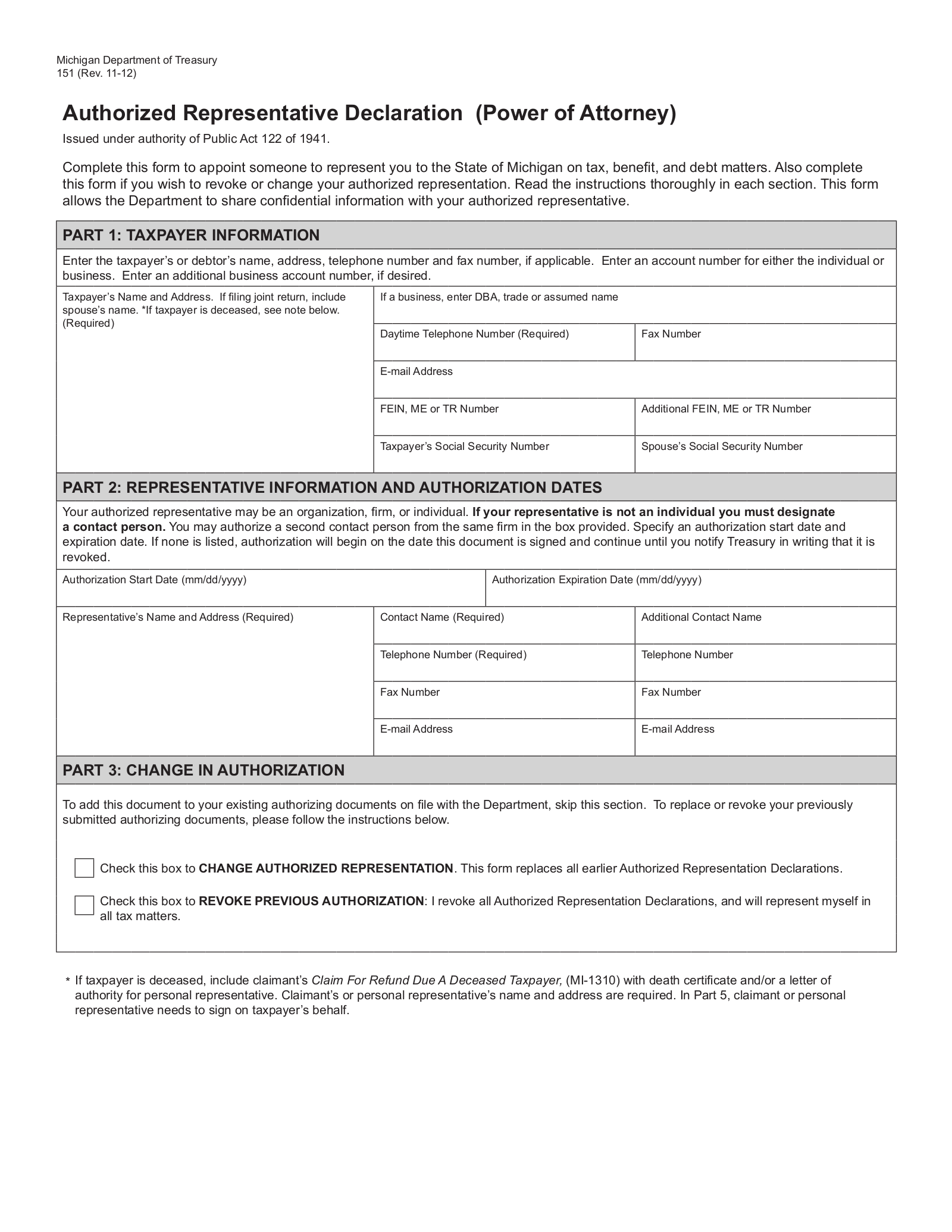 power of attorney form 151  Free Michigan Tax Power of Attorney (Form 7) - PDF ...