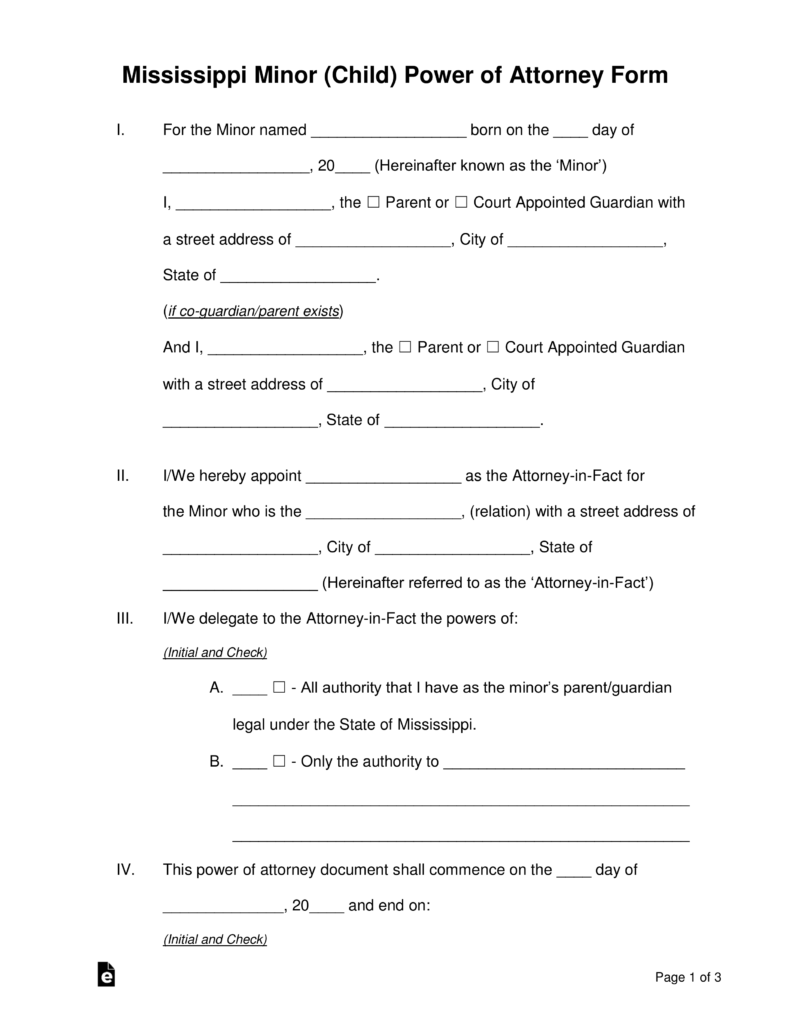 Free Mississippi Guardian of a Minor Power of Attorney Form - PDF ...