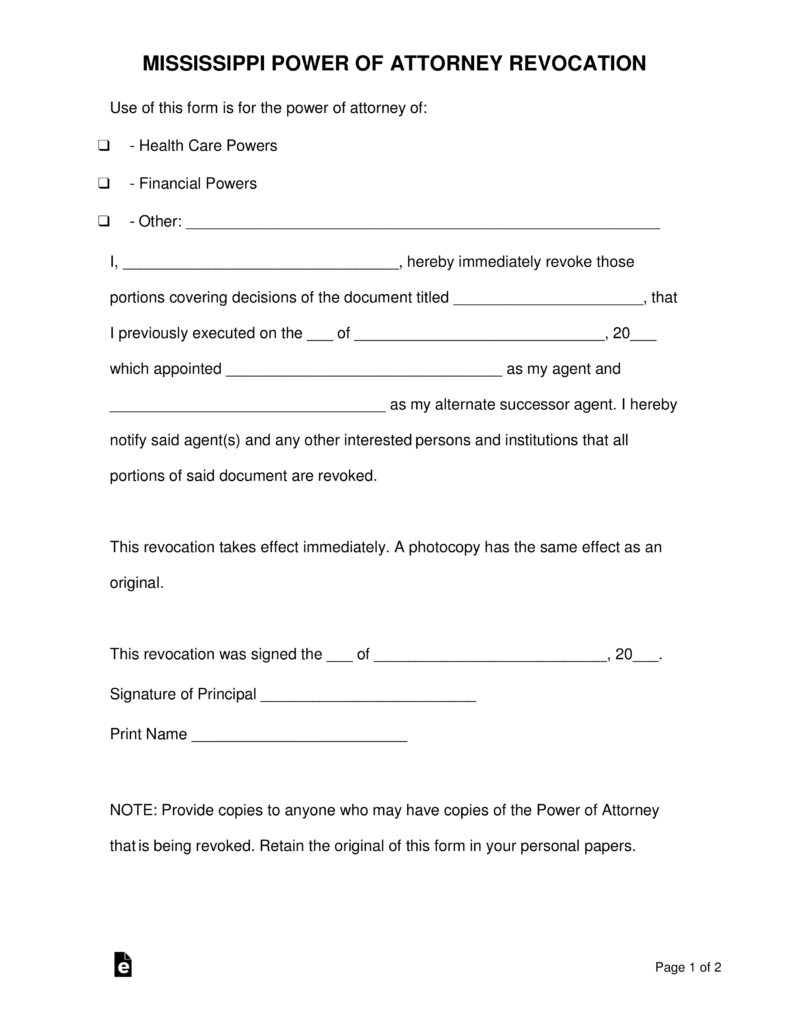 Free Mississippi Revocation Power Of Attorney Form Pdf Word