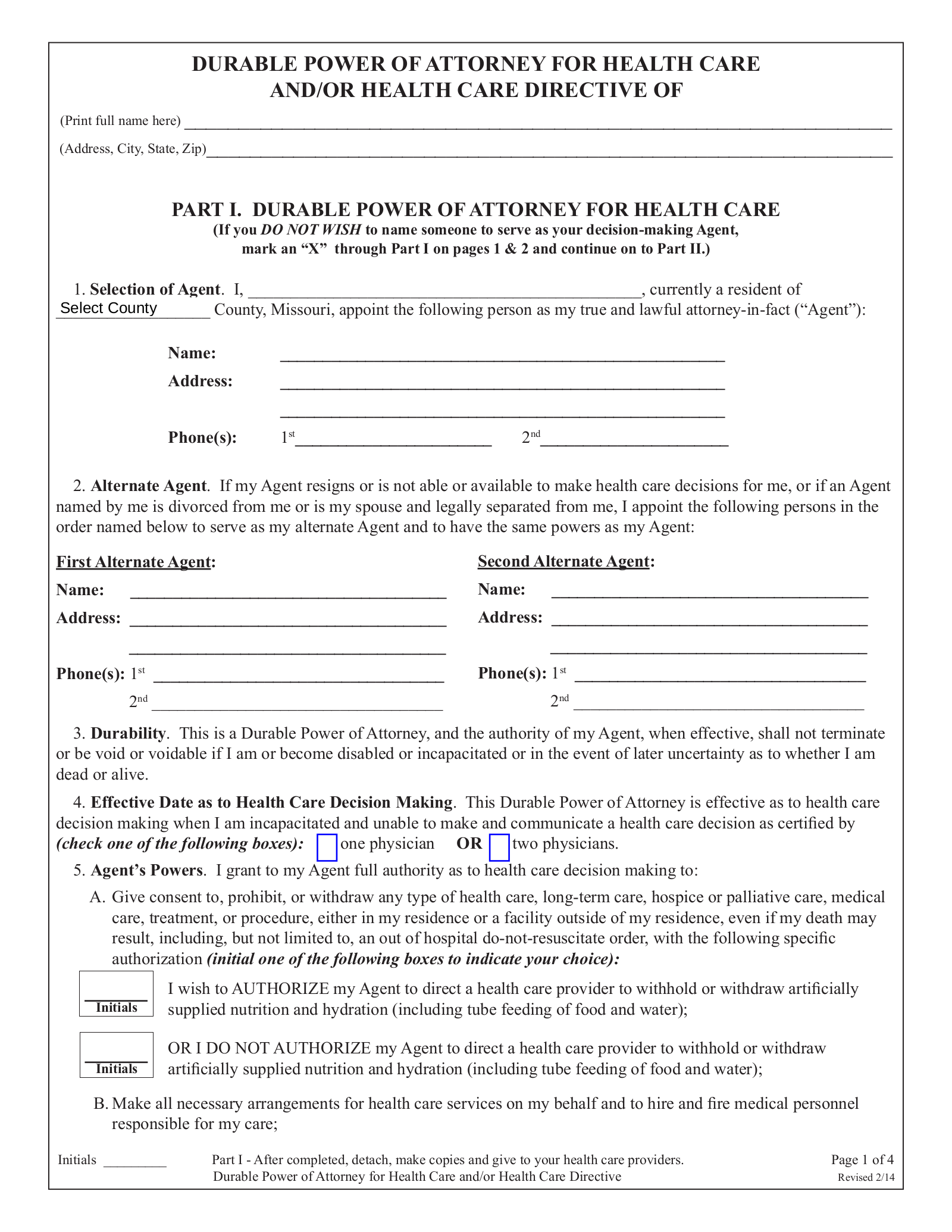 healthcare power of attorney form  Free Missouri Durable Power of Attorney for Health Care Form ...