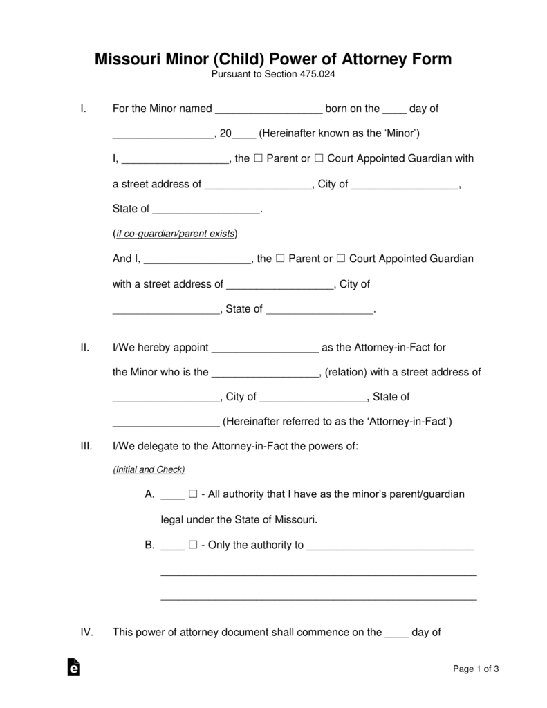 Free missouri minor child parental power of attorney form pdf free missouri minor child parental power of attorney form pdf word eforms free fillable forms falaconquin