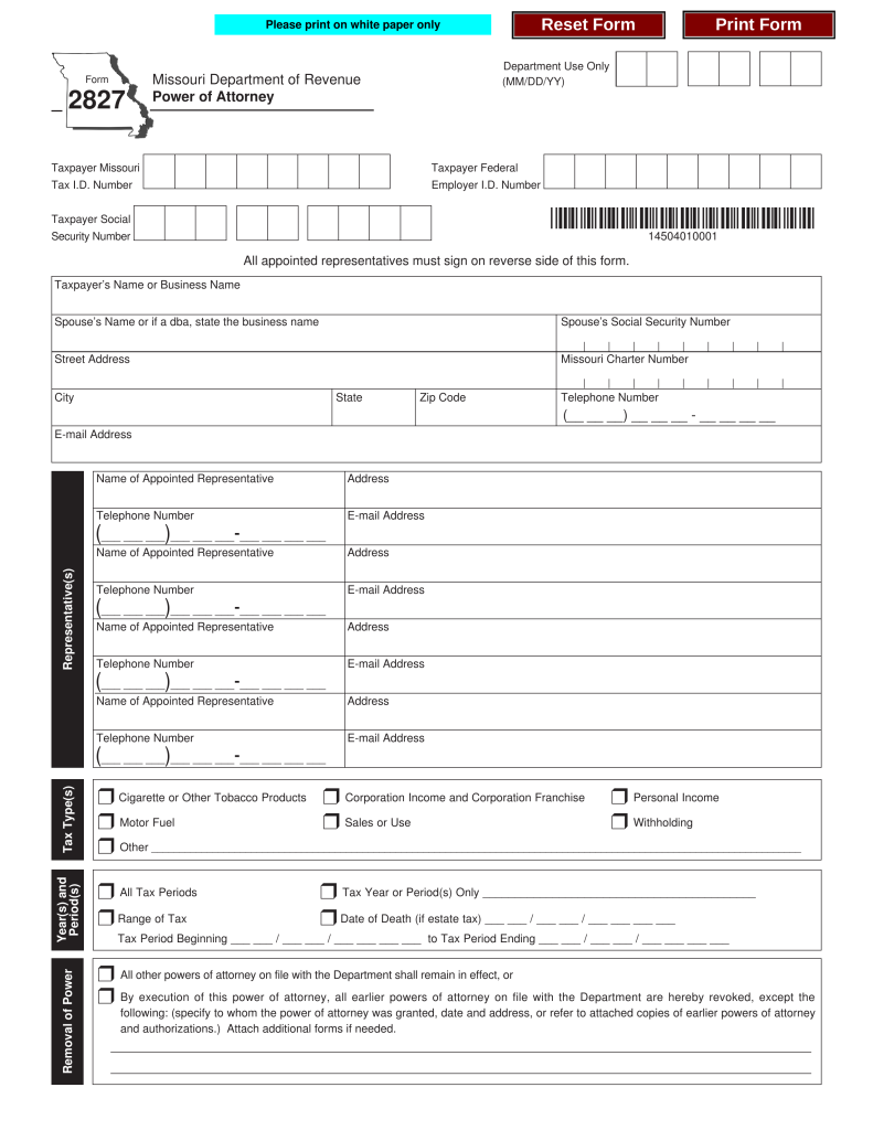Free Missouri Tax Of Attorney Form 2827 Pdf Eforms Fillable Forms