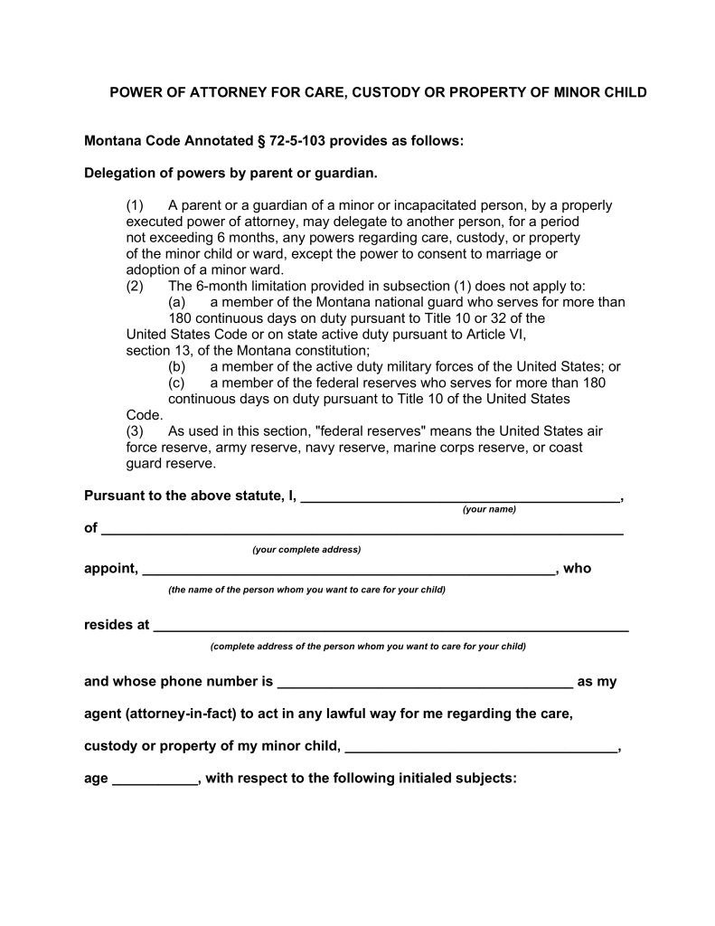 Child care power of attorney pasoevolist free montana minor child power of attorney form pdf word falaconquin