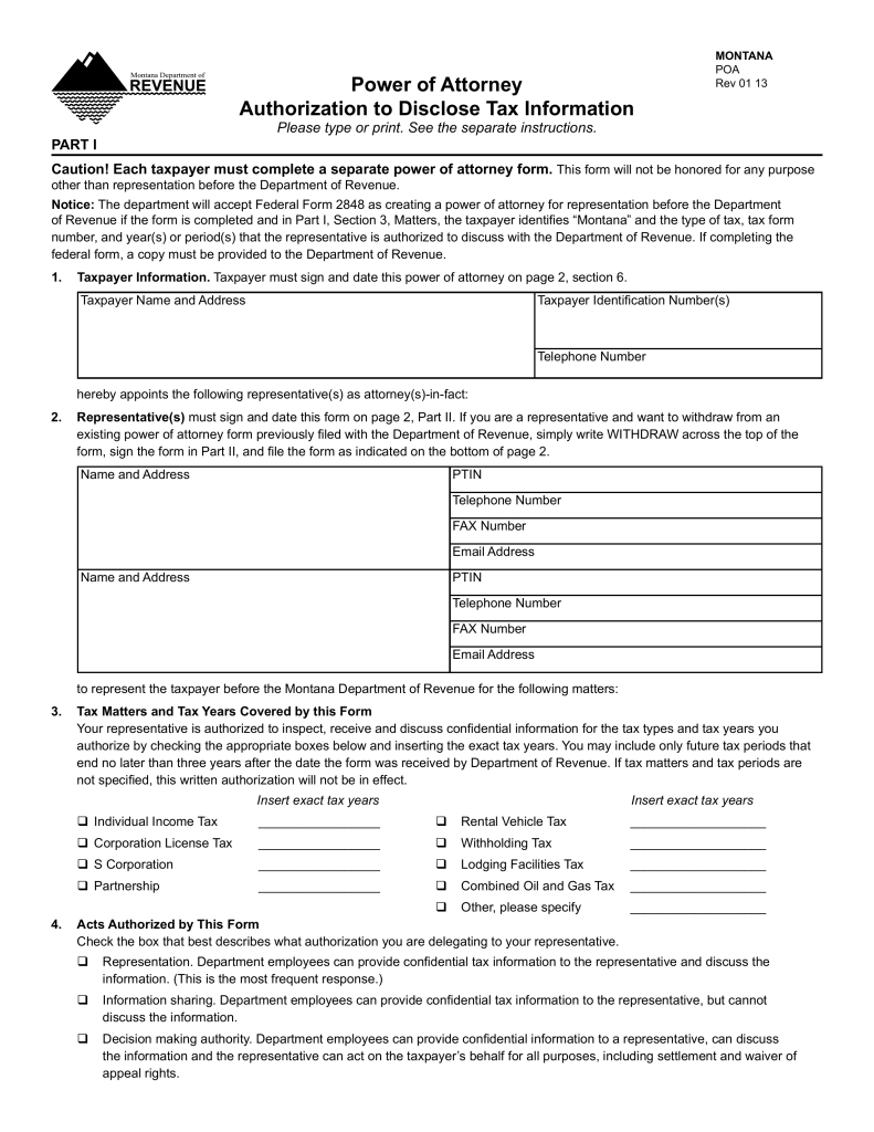 Free montana tax power of attorney form dept of revenue pdf free montana tax power of attorney form dept of revenue pdf eforms free fillable forms falaconquin