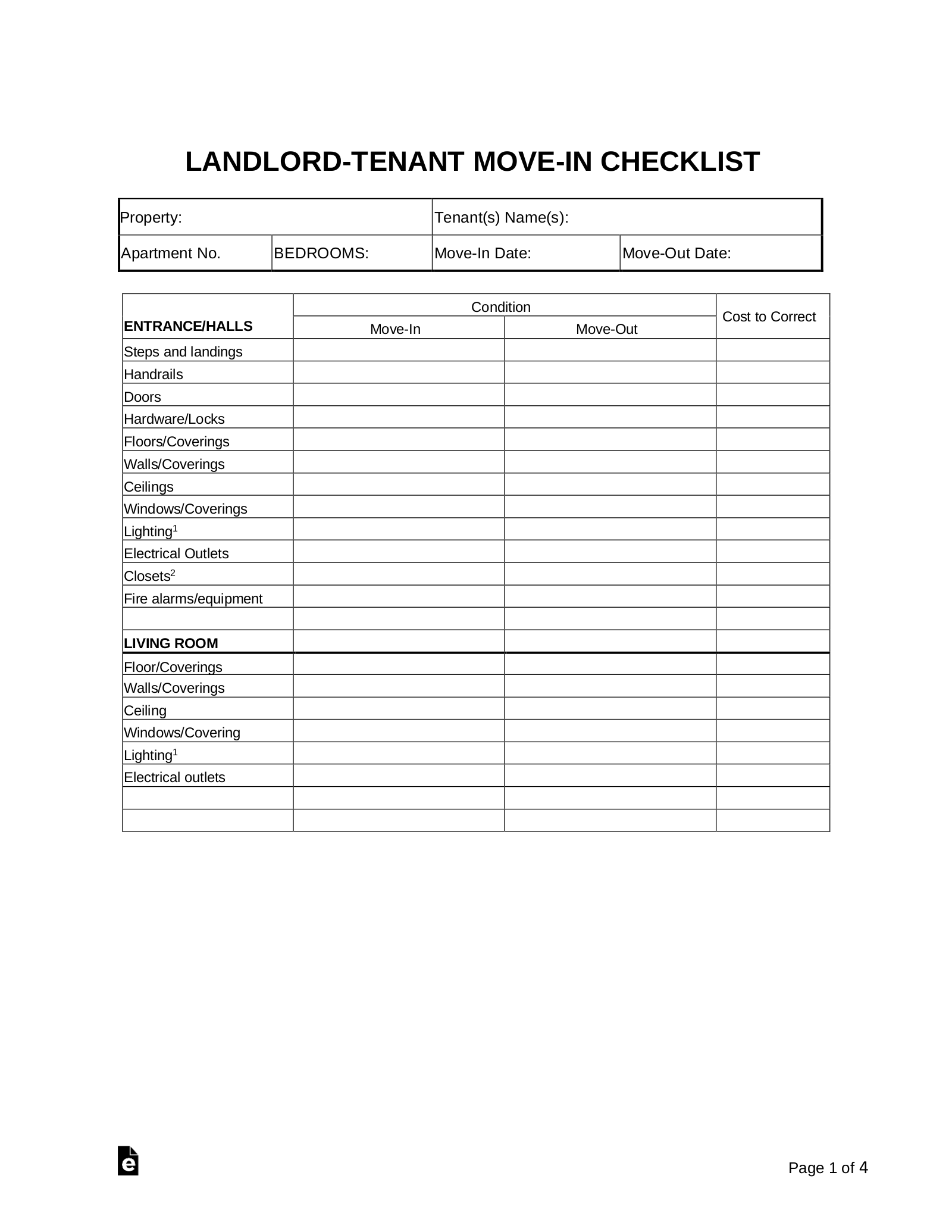 Move In Move Out Checklist For Landlord Tenant Eforms