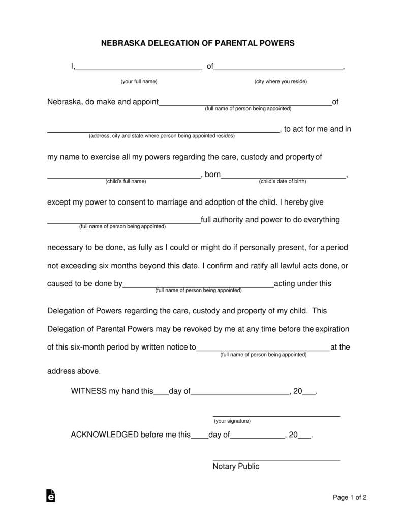 Free Nebraska Delegation of Parental (Minor Child) Power of ...