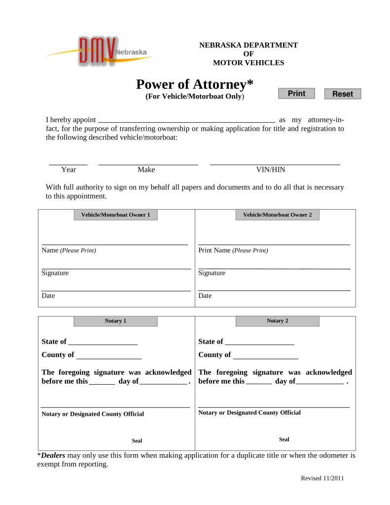 Free Nebraska Motor Vehicle Power Of Attorney Form Pdf