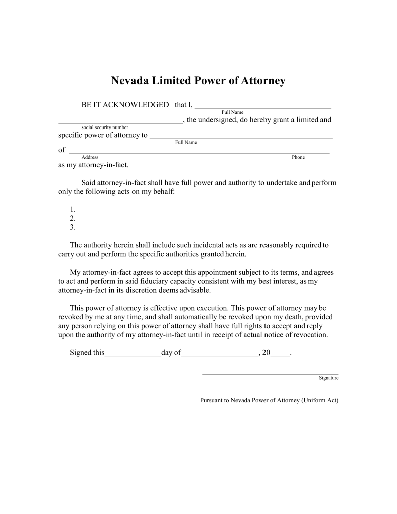 Free Nevada Limited Power of Attorney Form - PDF | Word | eForms ...