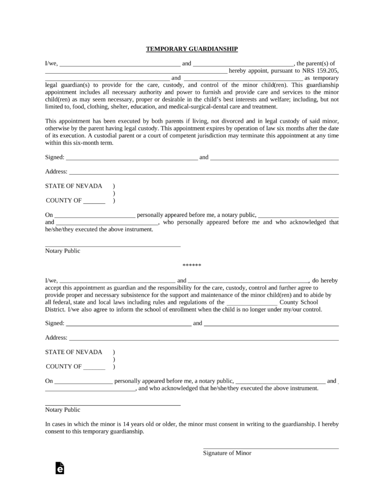 Free Nevada Minor Child (Parent) of Minor Power of Attorney Form ...