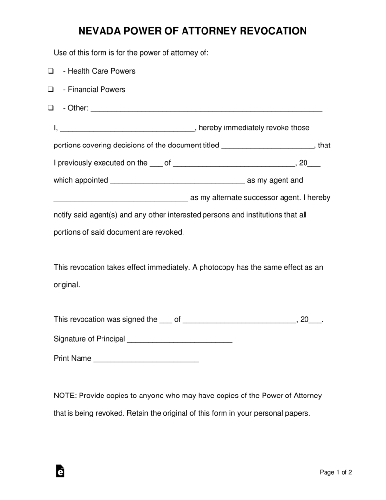 Free Nevada Revocation Power of Attorney Form - PDF | Word ...