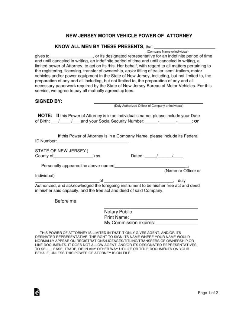 Free new jersey motor vehicle power of attorney form for New jersey department of motor vehicles phone number