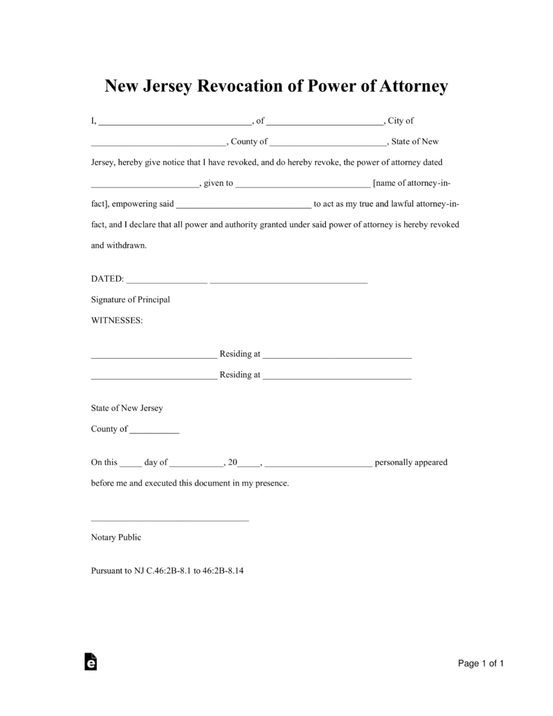 Free New Jersey Revocation Power Of Attorney Form Word Pdf