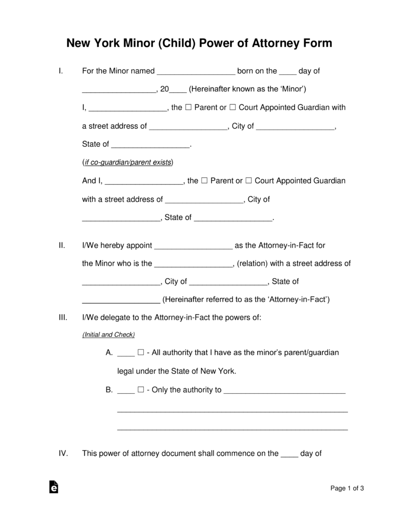 Free New York Minor Child Power of Attorney Form | Guardianship ...