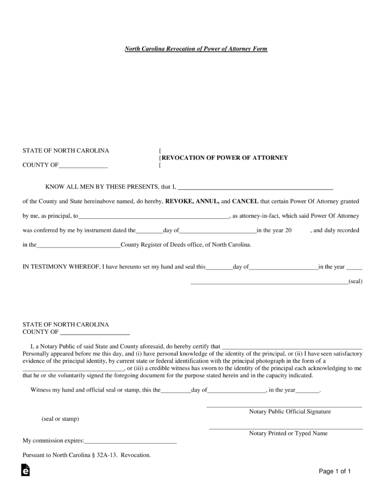 Free north carolina revocation of power of attorney form word free north carolina revocation of power of attorney form word pdf eforms free fillable forms yelopaper Choice Image