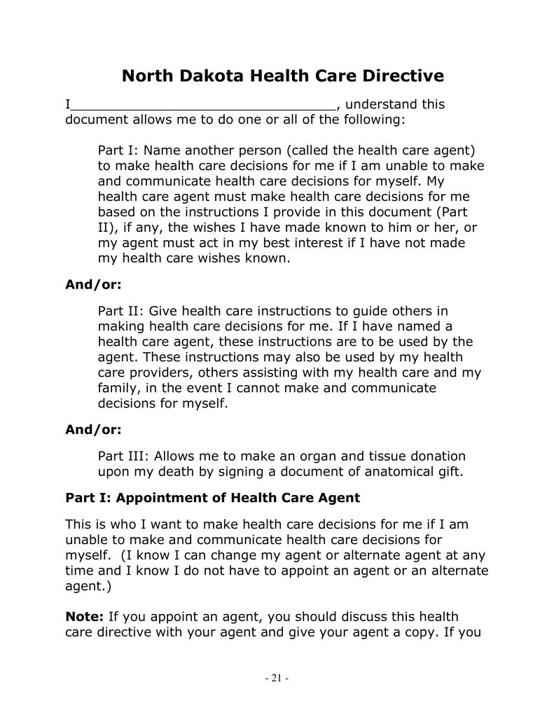 Free North Dakota Health Care Directive | POA & Living Will - Word ...