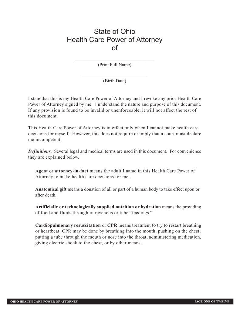 ohio durable power of attorney Free Ohio Durable Power of Attorney for Health Care Form - Word ...